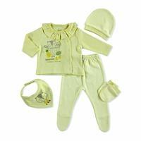 Little Racon Baby Collar 5-piece Newborn Hospital Pack with Interlock Long Sleeve Booties