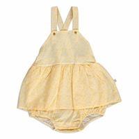 Yaz Kız Bebek Düğme Detaylı Baskılı Dokuma Poplin Kısa Kol Lastikli Elbise