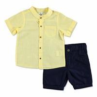 Summer Baby Boy Poplin Shirt Short Set