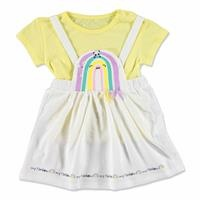 Summer Baby Girl My Rainbow Dungarees T-shirt Set