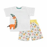 Summer Baby Lion Cotton Short Sleeve Crew Neck T-shirt Short 2 pcs Set