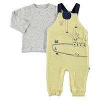 Summer Baby Boy Scoop Long Sleeve Footless Dungarees Sweatshirt Set