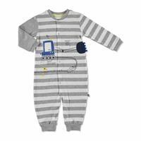 Yaz Erkek Bebek Kepçe İnterlok Uzun Kol Patiksiz Çıtçıtlı Yaka Tek Tulum