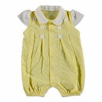 Summer Baby Girl Flower Interlock Short Sleeve Round Collar Jumpsuit