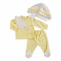 Cue Bow Baby Girl Interlock Snapsuit Hat Pant 3 pcs Set