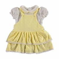 Cue Bow Baby Girl Interlock Short Sleeve Dungarees Set