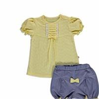 Yaz Kız Bebek Çiçekli İnterlok Kısa Kol Çıtçıtlı Yaka 2li Tshirt-Şort