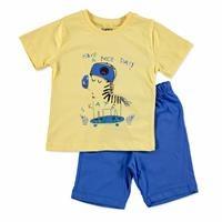 Erkek Bebek Şapkalı Zebra 2li Tshirt-Şort Takım