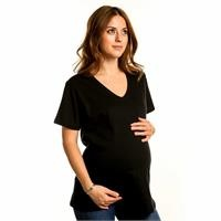 Maternity Casual V-Neck T-shirt Black