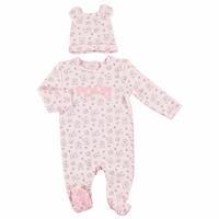 Kış Kız Bebek Winnie The Pooh Lisanslı Patikli Tulum Şapka 2'Li Takım