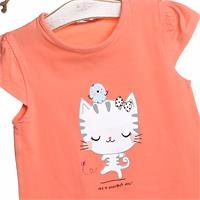 Crew Neck Baby Girl Supreme Cat Printed Tshirt
