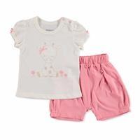 Yaz Kız Bebek Sevimli Hayvanlar Tshirt-Şort Takım