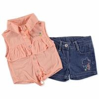 Summer Baby Girl Embroidered Shirt Short Set