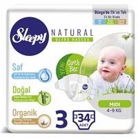 Natural Baby Diapers Size 3 Midi 4-9 kg 34 pcs
