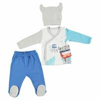 Vikings Baby Boy İnterlock Bodysuit Footed Trouser Hat Set