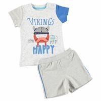 Vikings Baby Boy İnterlock Happy Tshirt Short Set