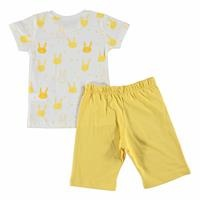 Hearted Rabbit Feature Printed Short Sleeve Baby Girl Pyjamas