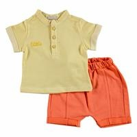 Yaz Erkek Bebek Cram Culup Pamuklu Kısa Kol 2li Tshirt-Şort