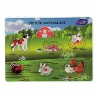 Wooden Handle Educational Puzzle Farm Animals
