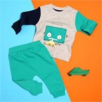 Baby Boy Robot Zippered Sweatshirt Trousers Set