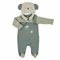 Cold Days Baby Boy Polo Neck Romper Hat 2 pcs Set