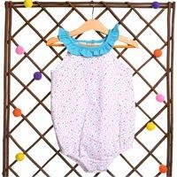 Flowered Baby Girl Ruffled Neck Sleeveless Bodysuit