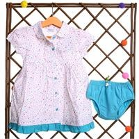 Flowered Baby Girl Collared Short Sleeve Dress