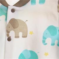 Erkek Bebek Baby Fil Önden Çıtçıtlı Patikli Pijama Takımı