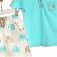 Elephant Baby Tshirt Short Set