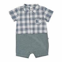 Summer Baby Boy Polo Neck Short Sleeve Romper