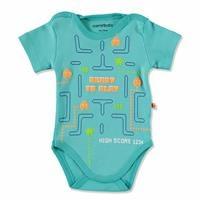 Summer Baby Boy Tetris Game Printed Short Sleeve Bodysuit
