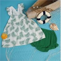 Yaz Kız Bebek Bebek Desenli Müslin Elbise Külot Takım
