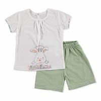 Summer Baby Time Have Fun Cotton Short Sleeve Footless Crew Neck T-shirt Short 2 pcs Set