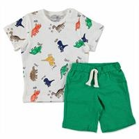 Summer Baby Boy Colored Dino T-shirt Short 2 pcs Set