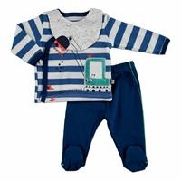Summer Baby Boy Scoop Interlock Long Sleeve Snap Fastener Collar 3-Piece Bottom with Footwear