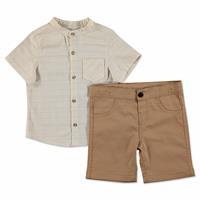 Neck Cotton Short Sleeve Shirt - Pants 2 pcs Set