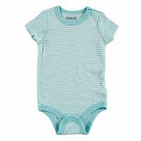 Striped Rib Baby Short Sleeve Snaps Neck Bodysuit