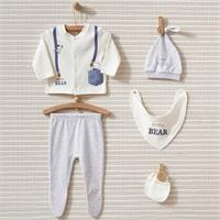 Little Bear Baby Collar 5-piece Newborn Hospital Pack with Interlock Long Sleeve Booties