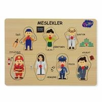 Educational Puzzle Professions with Wooden Handle