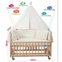 Natural Wooden Baby Crib 70x130 cm