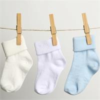 Bebek 3Lü Kıvrık Çorap - Mavi