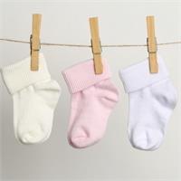 Bebek 3Lü Kıvrık Çorap - Pembe