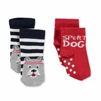 2 Pack Baby Socks Six Printed Striped Dog