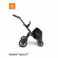 V6 Baby Stroller Black Chassis Brown Leather Holding Sleeves