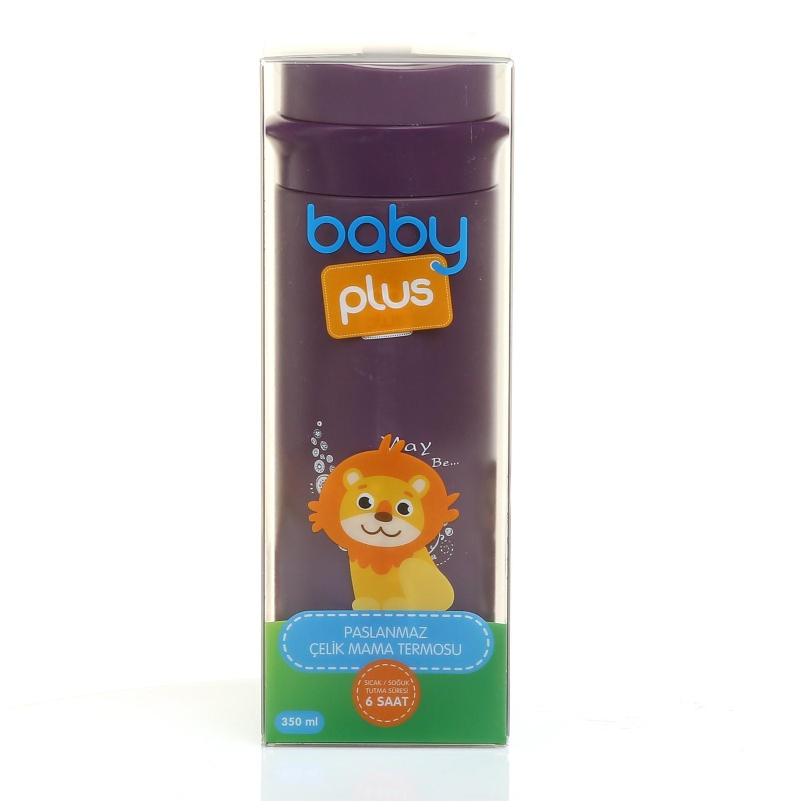 baby&plus Paslanmaz Çelik Bebek Mama Saklama Termosu 350 ml - Mor Ürün Resmi