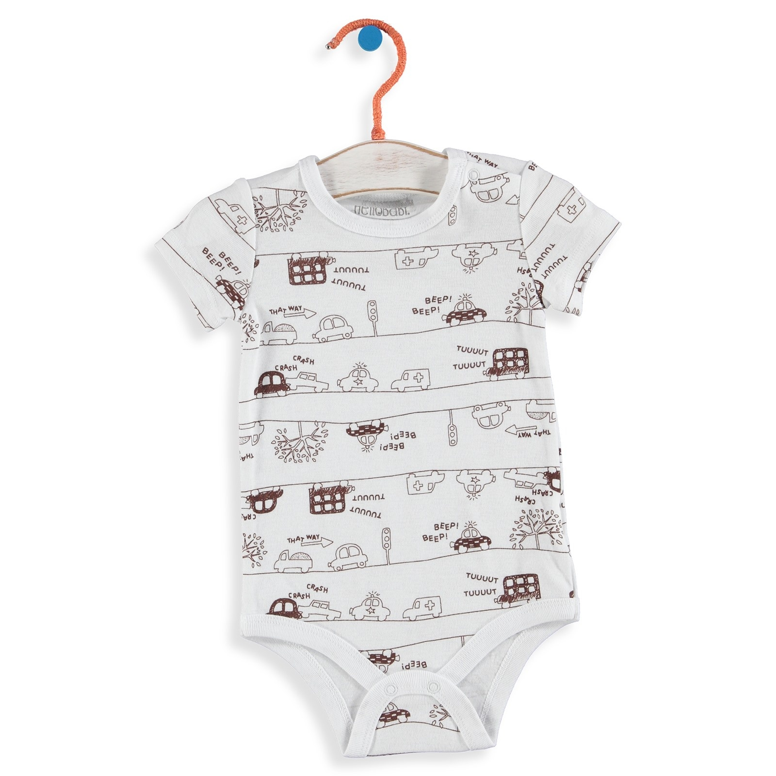 Baby Boy Car Printed Collar Snaps Detailed Short Sleeve Bodysuit
