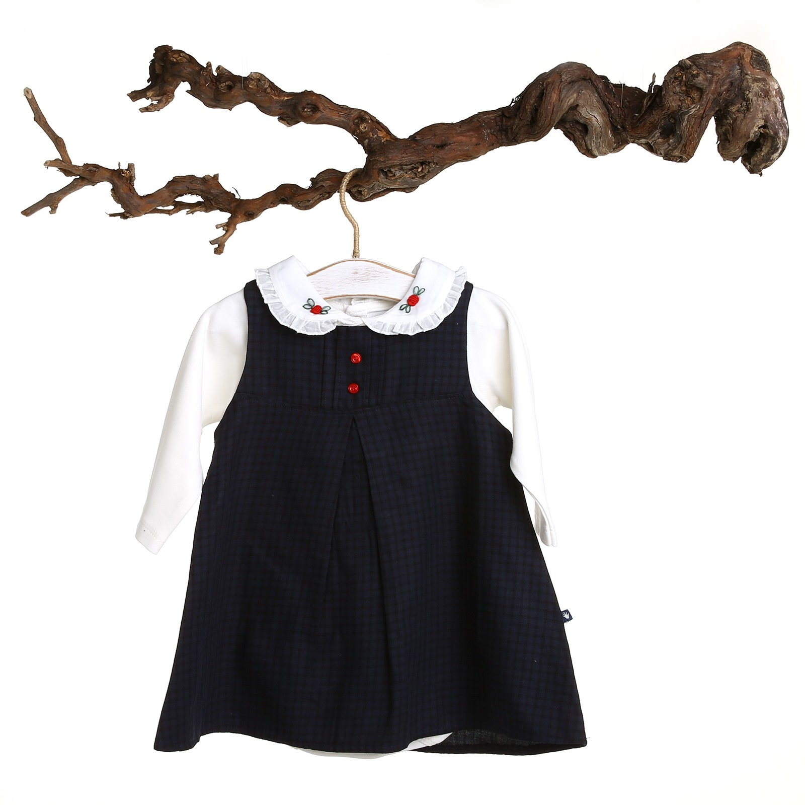 Kız Bebek Kareli Elbise