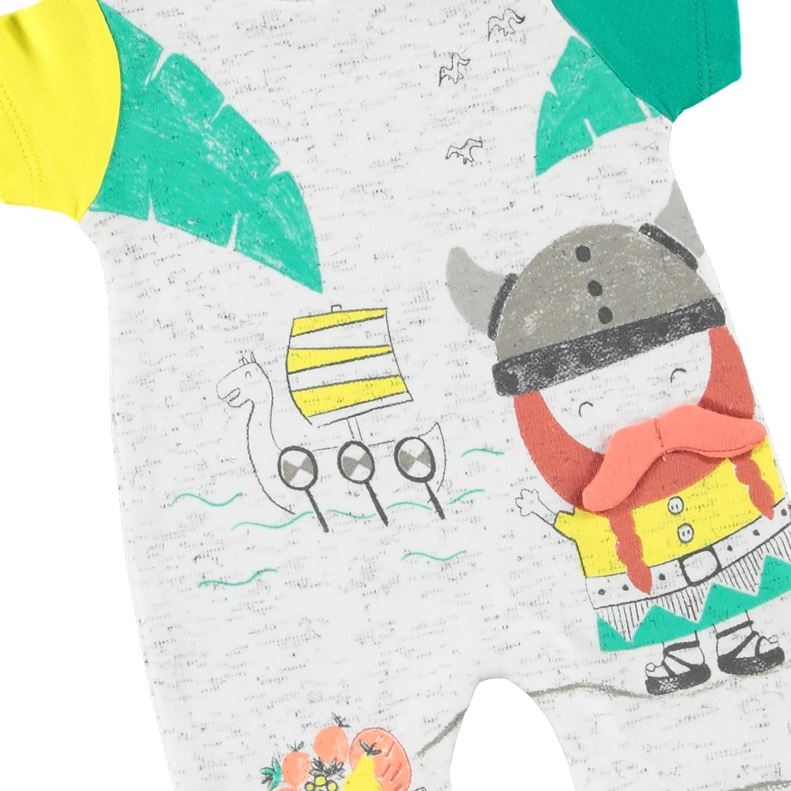 Mymio Vikingler Erkek Bebek Interlok Kısa Tulum