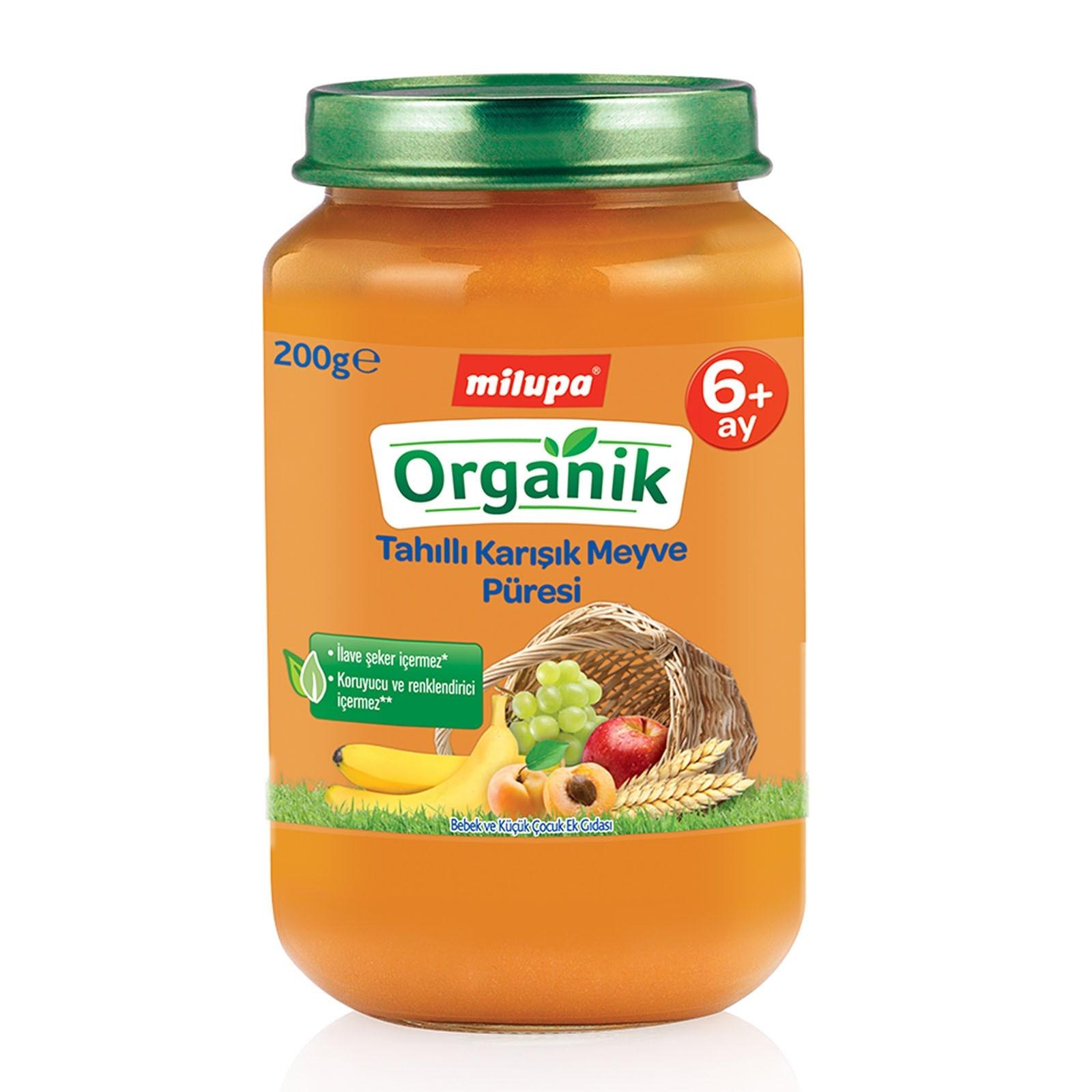 Milupa Organik Tahıllı Karışık Meyveli Kavanoz Maması 200 gr