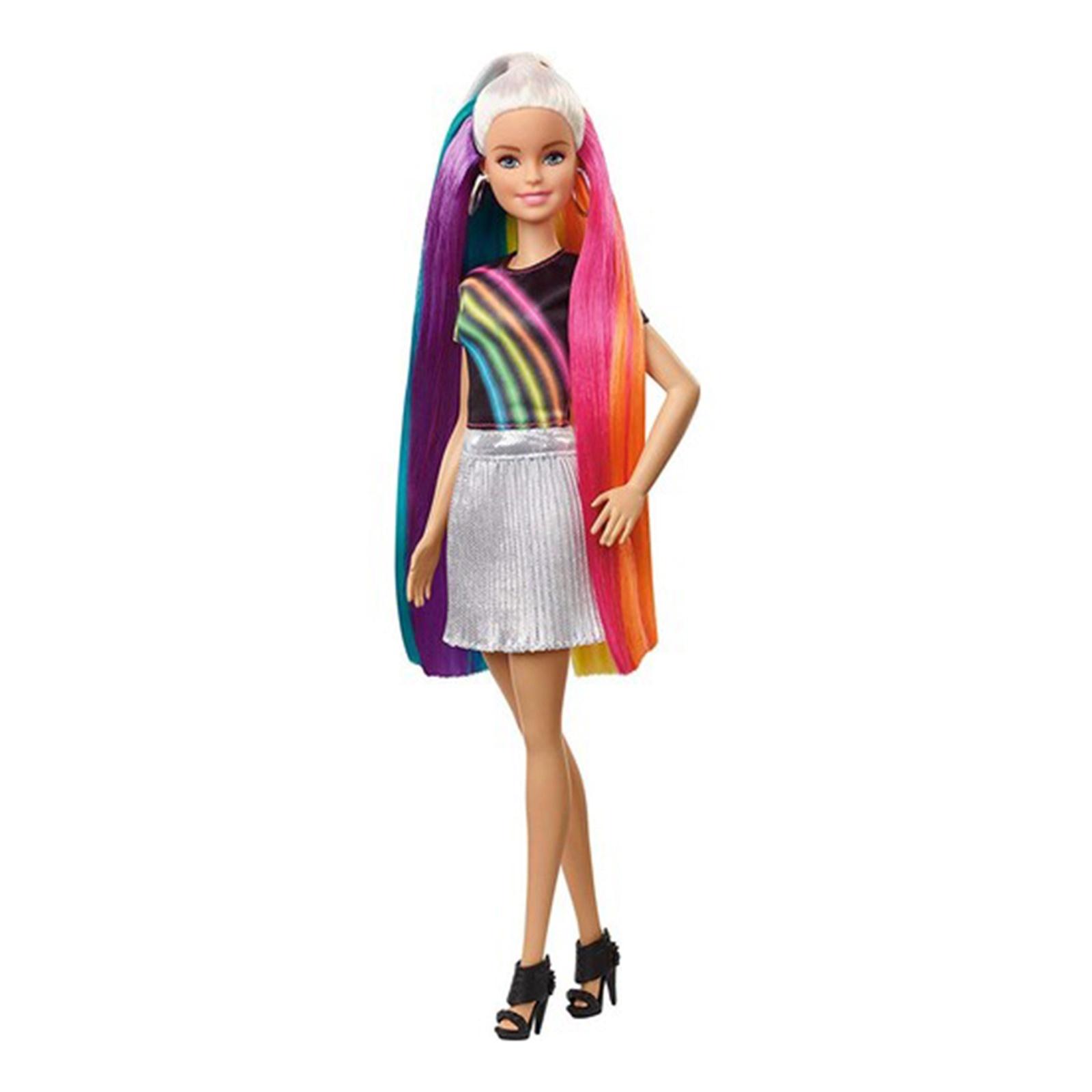 Barbie Gokkusagi Renkli Saclar Bebegi